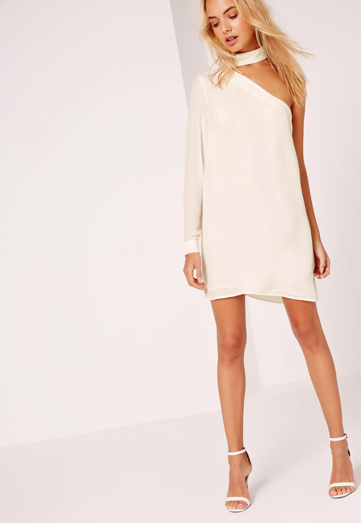 Choker Neck Asymmetric Shift Dress White