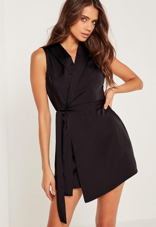 Silky Sleeveless Blazer Dress Black
