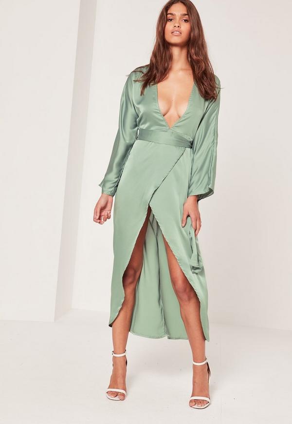 Silky Kimono Midi Dress Duckegg Blue