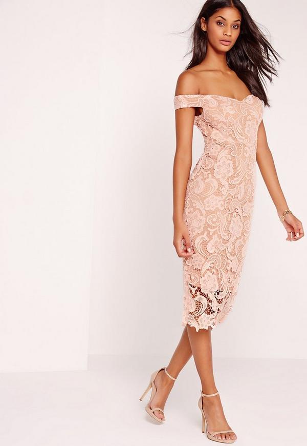 Bardot Lace Midi Dress Pink