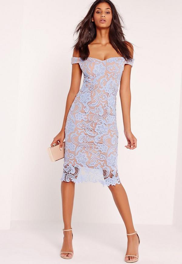 Bardot Lace Midi Dress Blue