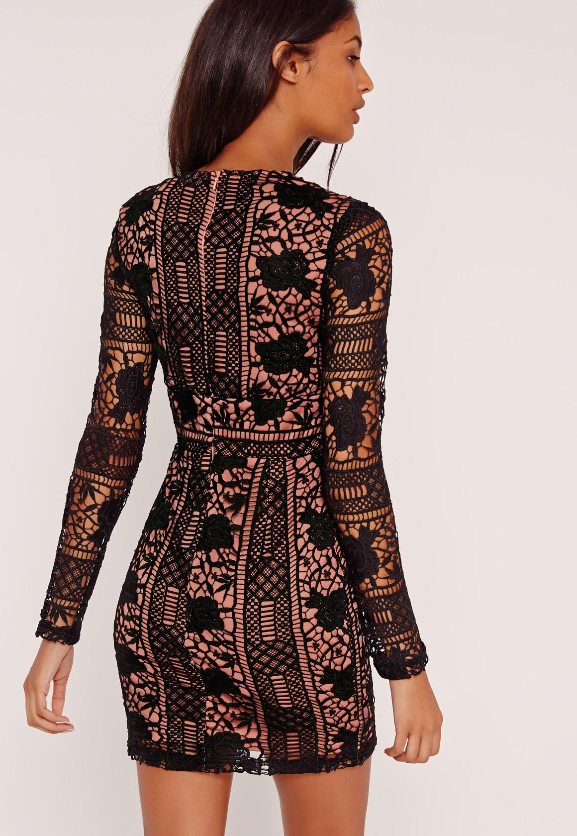 Lace Long Sleeve Plunge Bodycon Dress Black