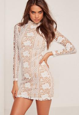Lace Long Sleeve High Neck Bodycon Dress White