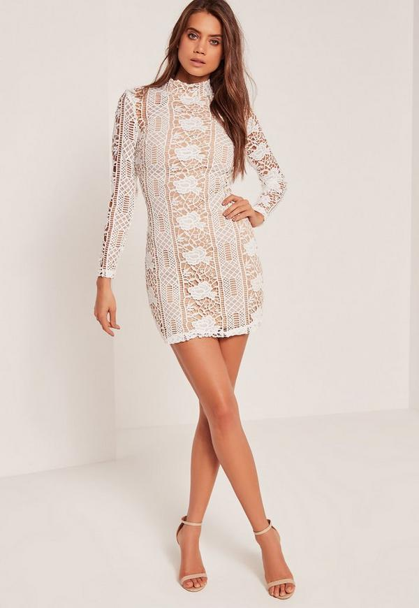 lace long sleeve high neck bodycon dress white missguided