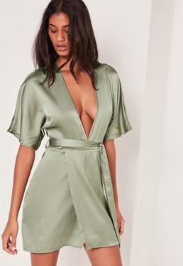 Silky Kimono Dress Green