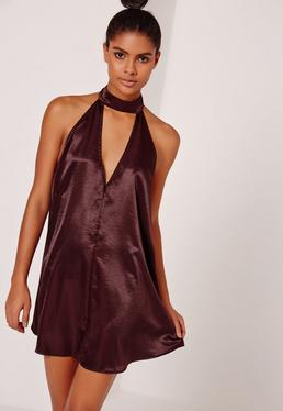 Silky Choker Neck Swing Dress Burgundy