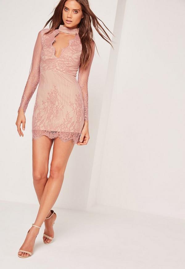 Long Sleeve Choker Neck Bodycon Dress Pink