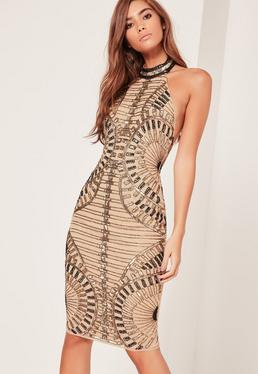 Premium Halterneck Sequin Embellished Midi Dress Gold