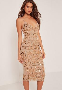 Premium Strappy Grid Sequin Embellished Midi Dress Gold