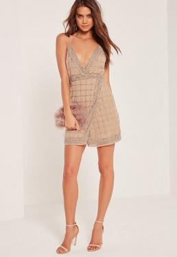 Premium Sequin Embellished Cami Wrap Dress Nude