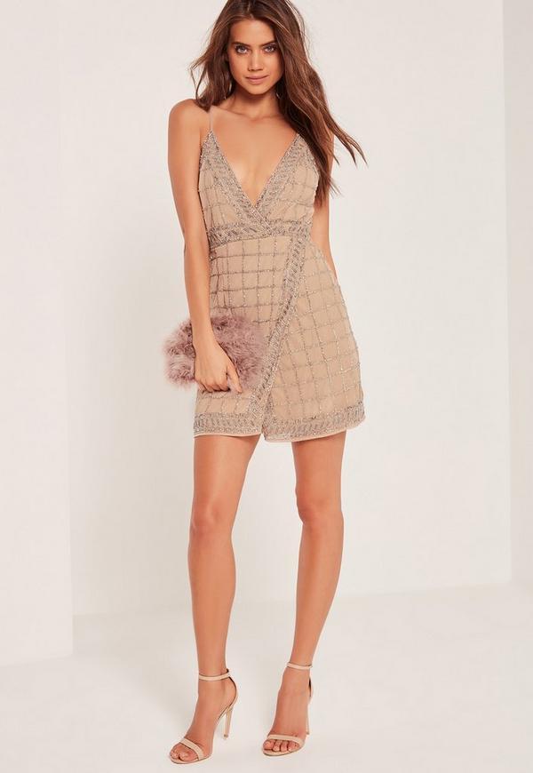 Premium Sequin Embellished Cami Wrap Dress Nude