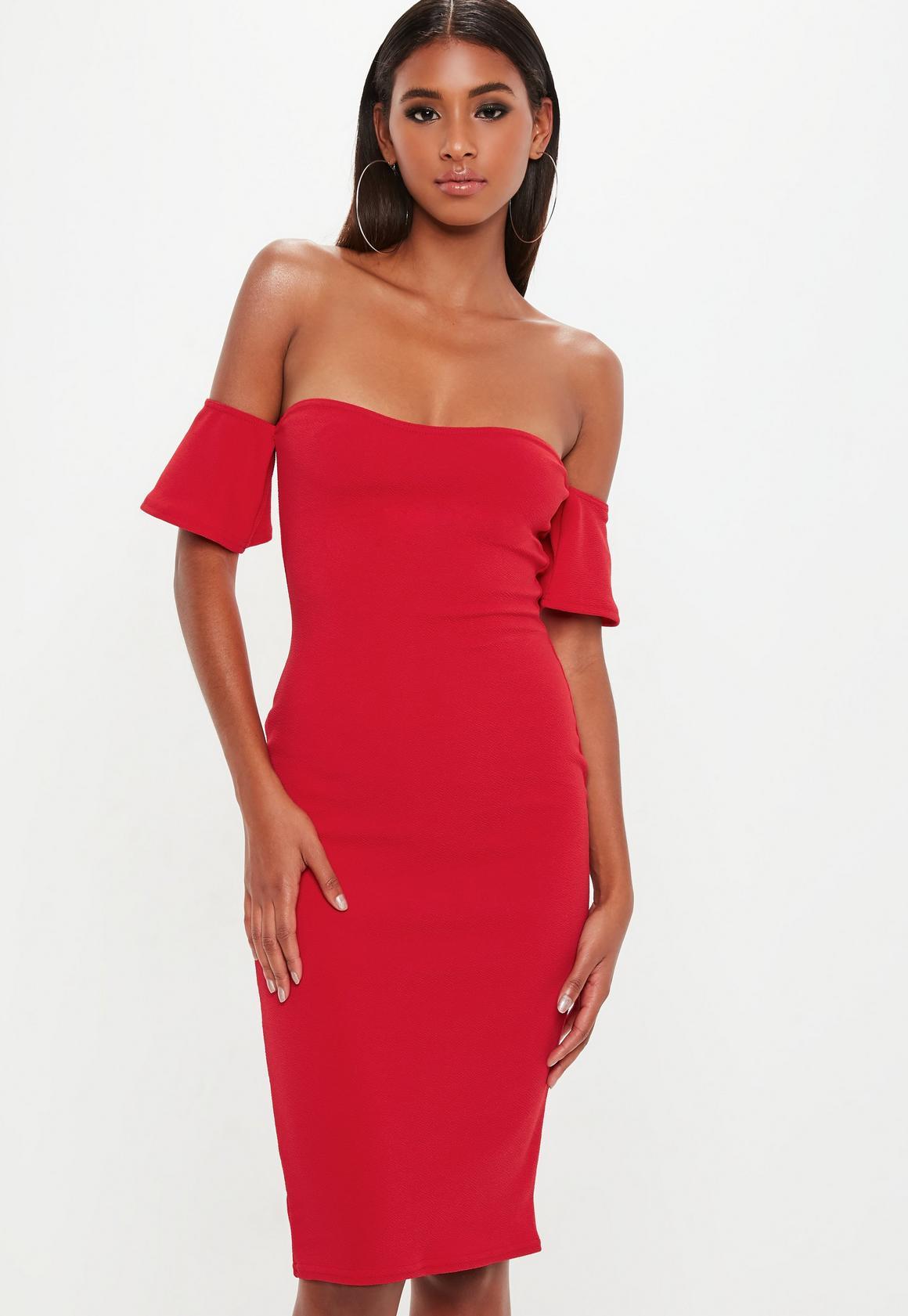 wedding guest dresses bodycon wedding dress Bardot Bodycon Midi Dress Red Bardot Bodycon Midi Dress Red