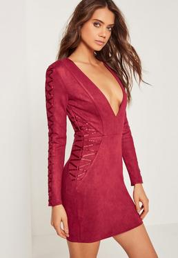 Faux Suede Long Sleeve Bodycon Dress Red