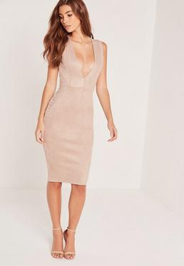 Faux Suede Sleeveless Midi Dress Nude