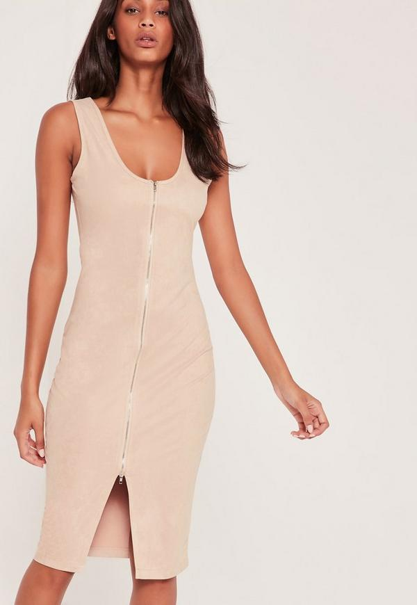 Faux Suede Zip Front Midi Dress Nude