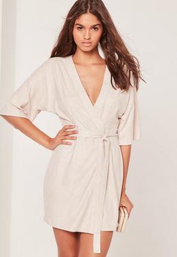 Faux Suede Kimono Dress Nude
