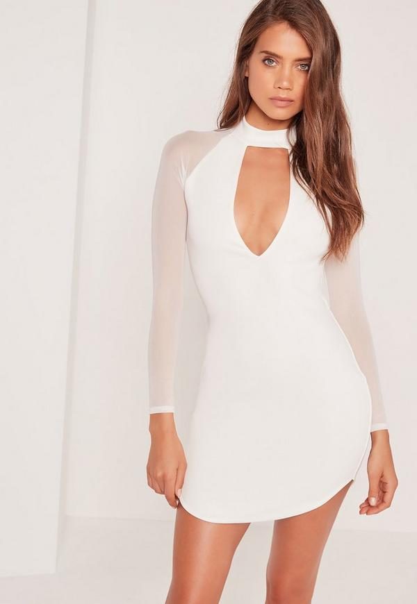 Choker Neck Mesh Sleeve Bodycon Dress White