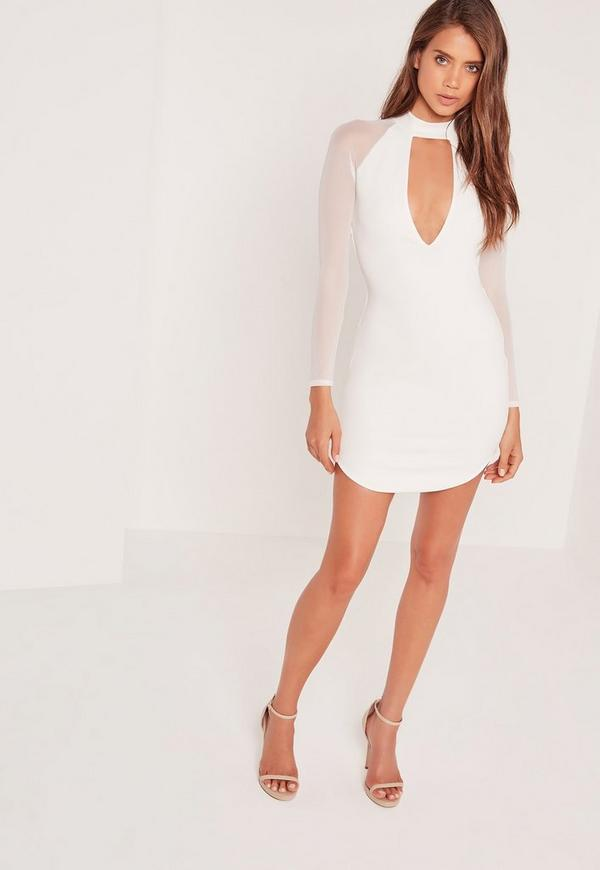 Choker Neck Mesh Sleeve Bodycon Dress White | Missguided