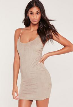 Faux Suede Bodycon Dress Nude