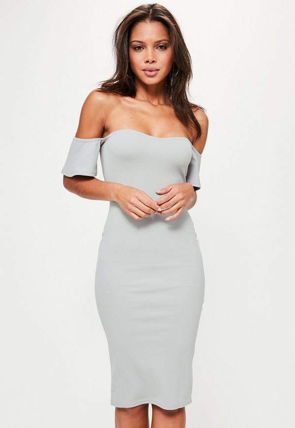 Bardot Bodycon Midi Dress Grey
