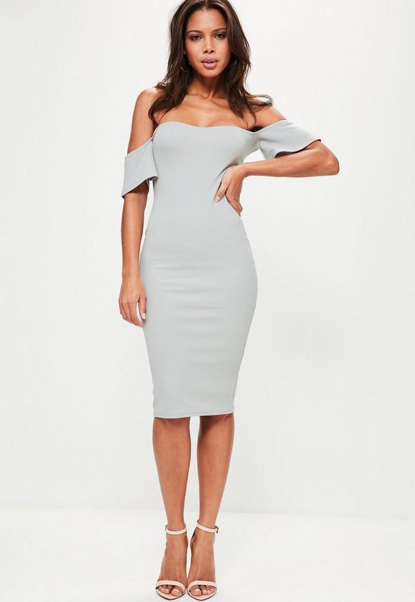 Bardot Bodycon Midi Dress Grey | Missguided