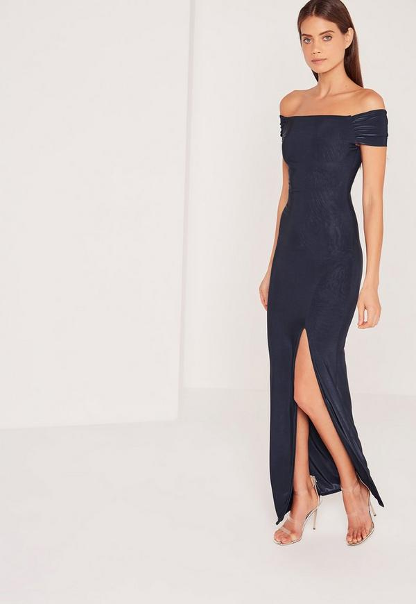 Slinky Bardot Maxi Dress Navy