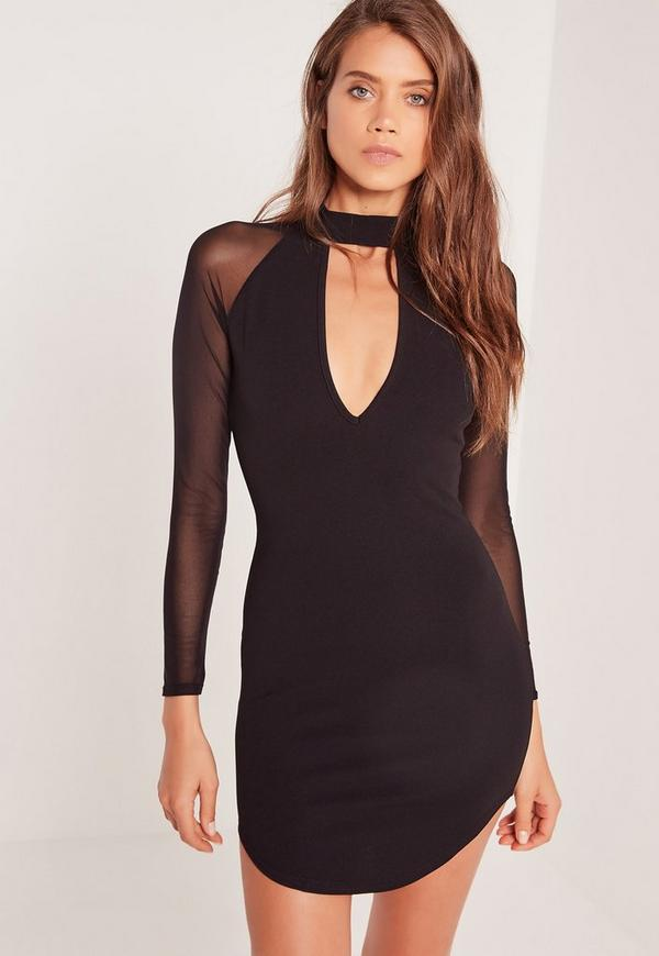 Choker Neck Mesh Sleeve Bodycon Dress Black