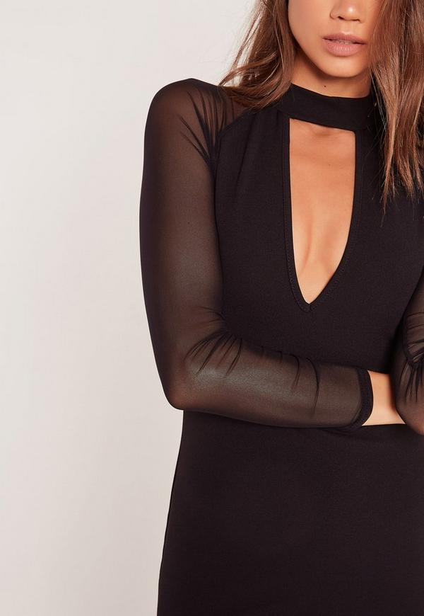 Choker Neck Mesh Sleeve Bodycon Dress Black Missguided