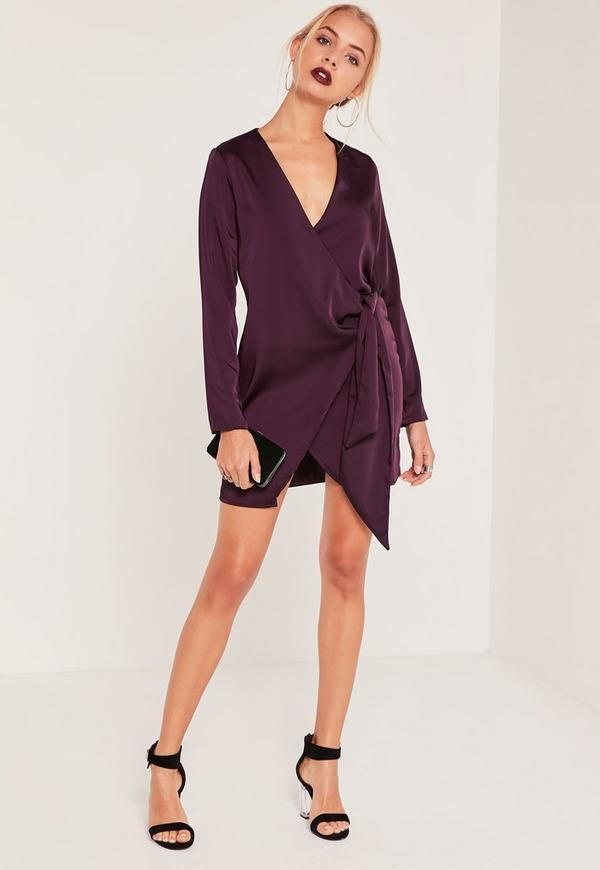 Silky Wrap Tie Waist Shirt Dress Purple