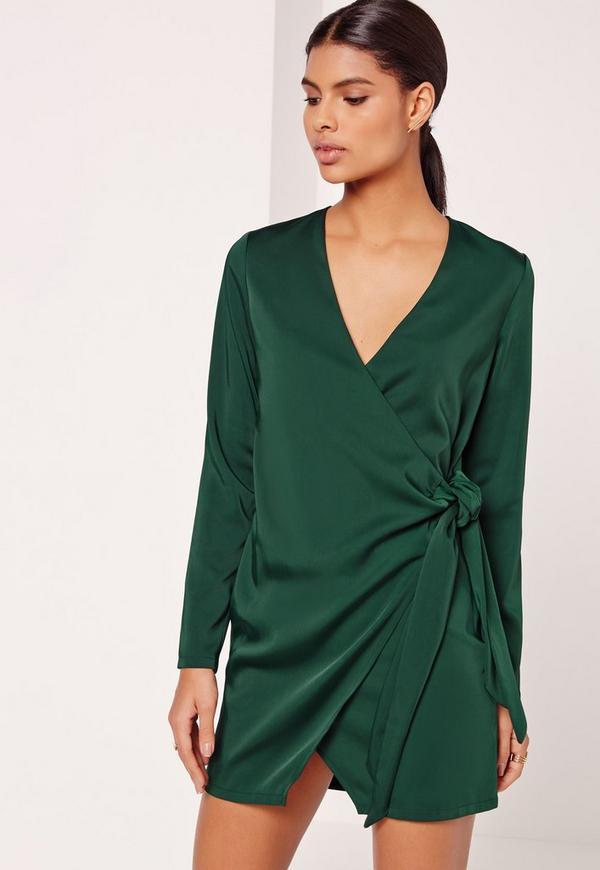 Silky Wrap Tie Waist Shirt Dress Green
