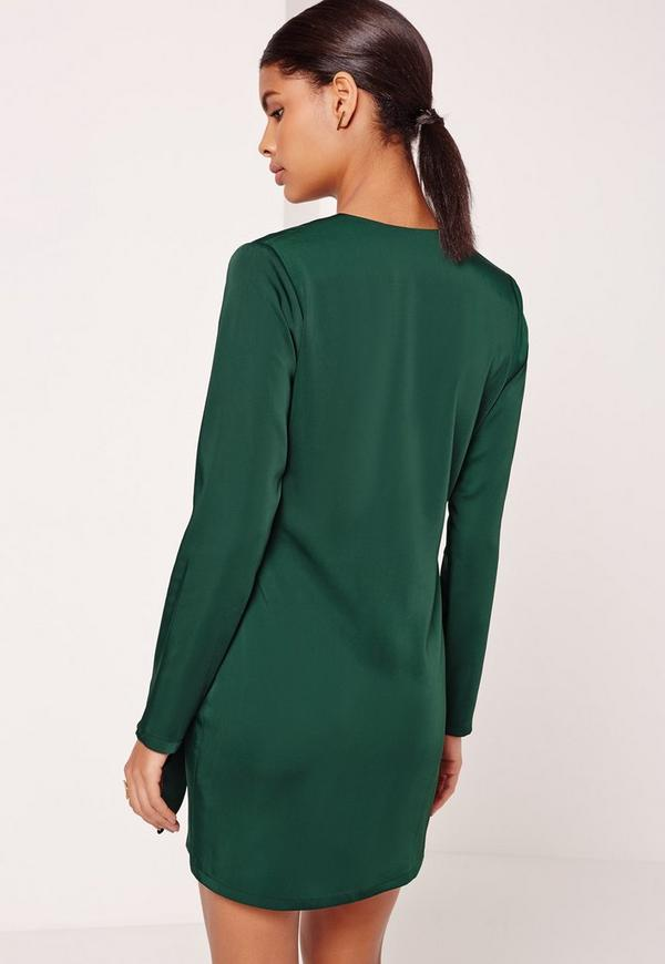Silky Wrap Tie Waist Shirt Dress Green Missguided