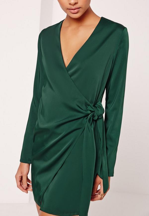 4675178c412da Silky Wrap Tie Waist Shirt Dress Green