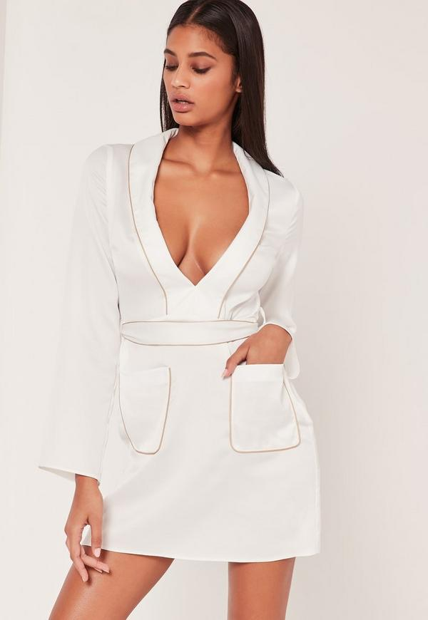 Silky Plunge Pocket Detail Shirt Dress White