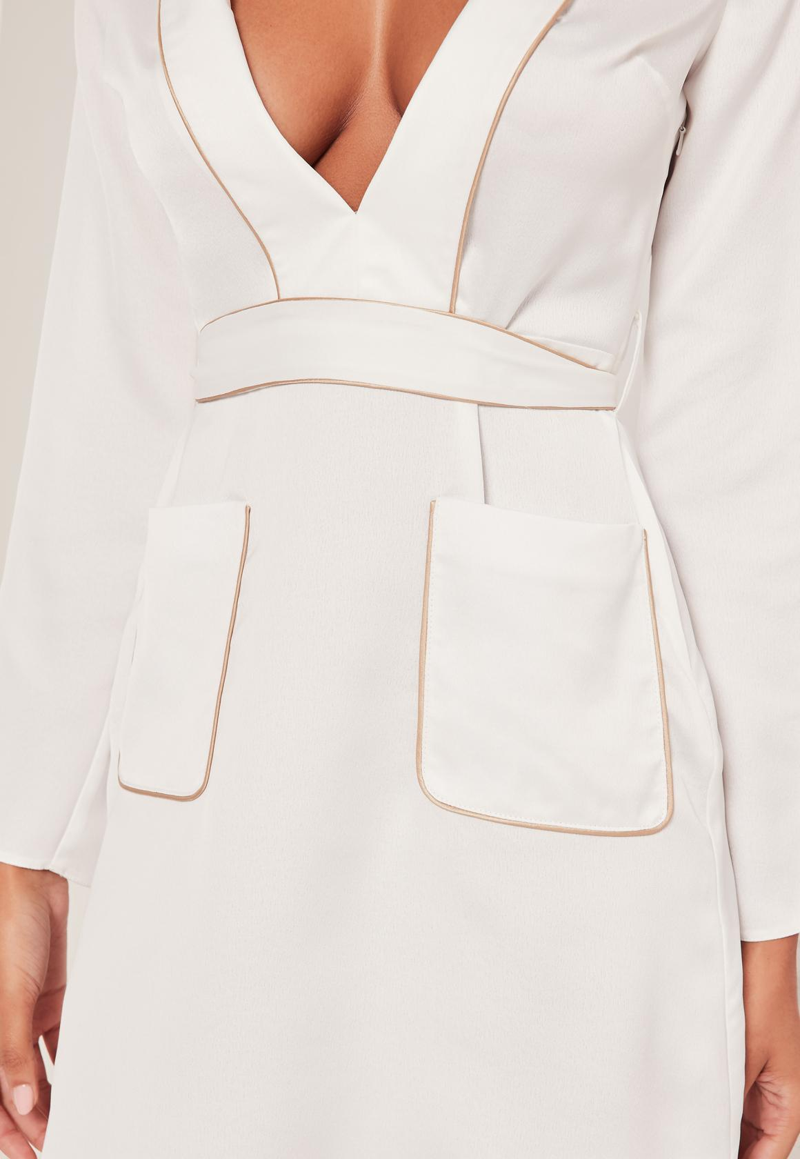 Silky Plunge Pocket Detail Shirt Dress White