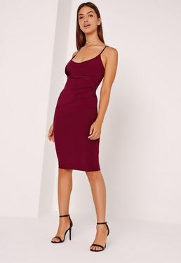 Slinky Strappy Wrap Midi Dress Purple