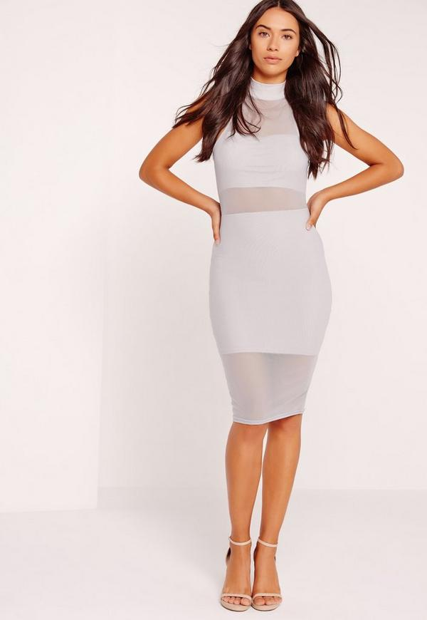 High Neck Overlay Midi Dress Ice Grey