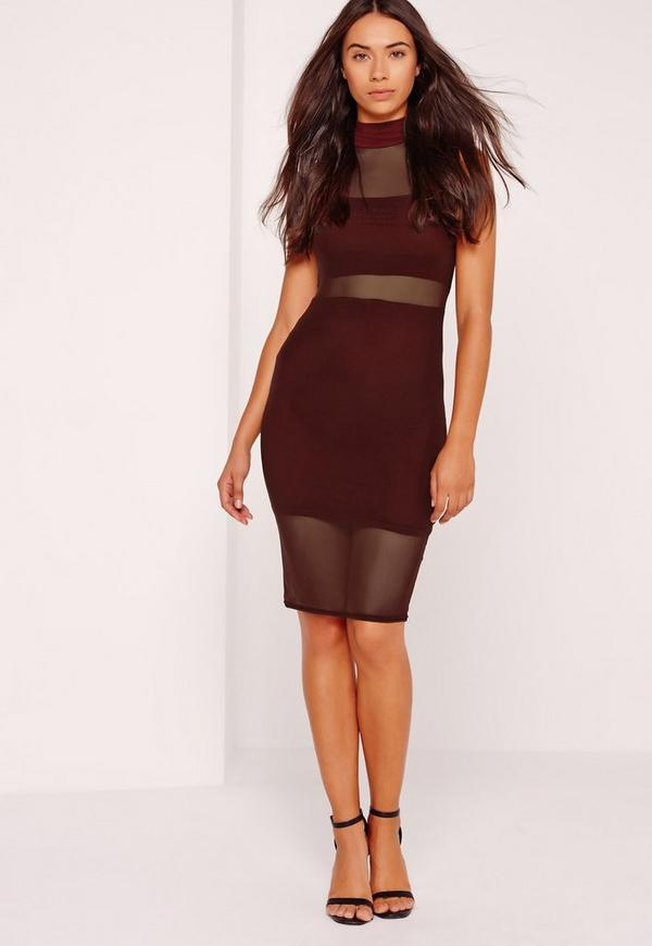 High Neck Mesh Overlay Midi Dress Plum