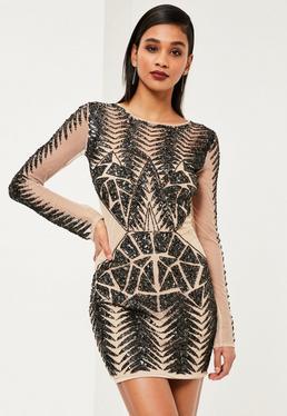 Premium Black Embellished Long Sleeve Bodycon Dress