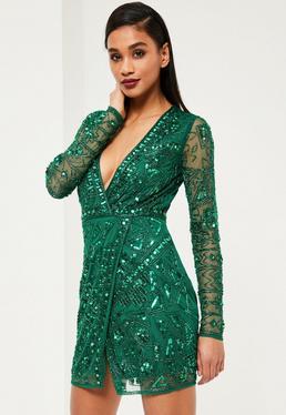 Premium Green Embellished Wrap Dress