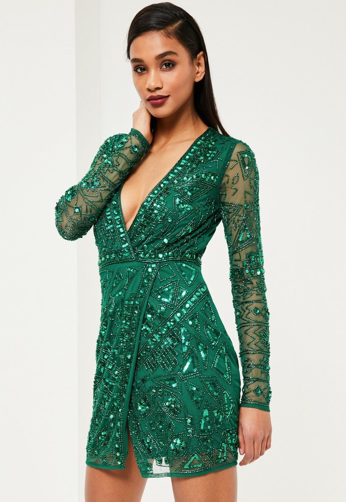 Premium Green Embellished Wrap Dress | Missguided
