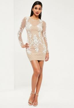 Premium Nude Embellished Long Sleeve Bodycon Dress