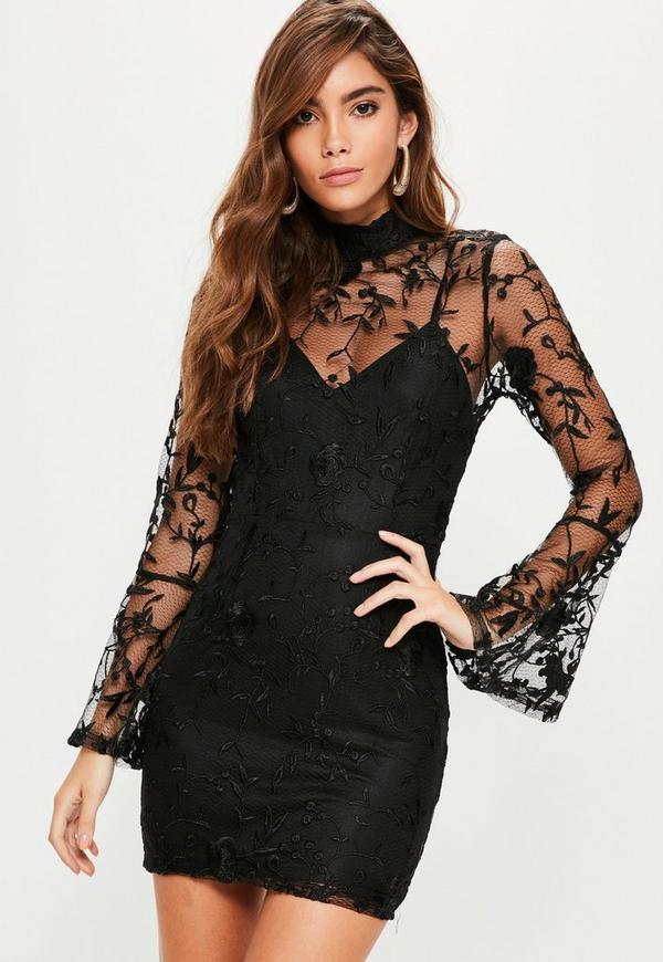 Lace High Neck Flute Sleeve Mini Dress Black