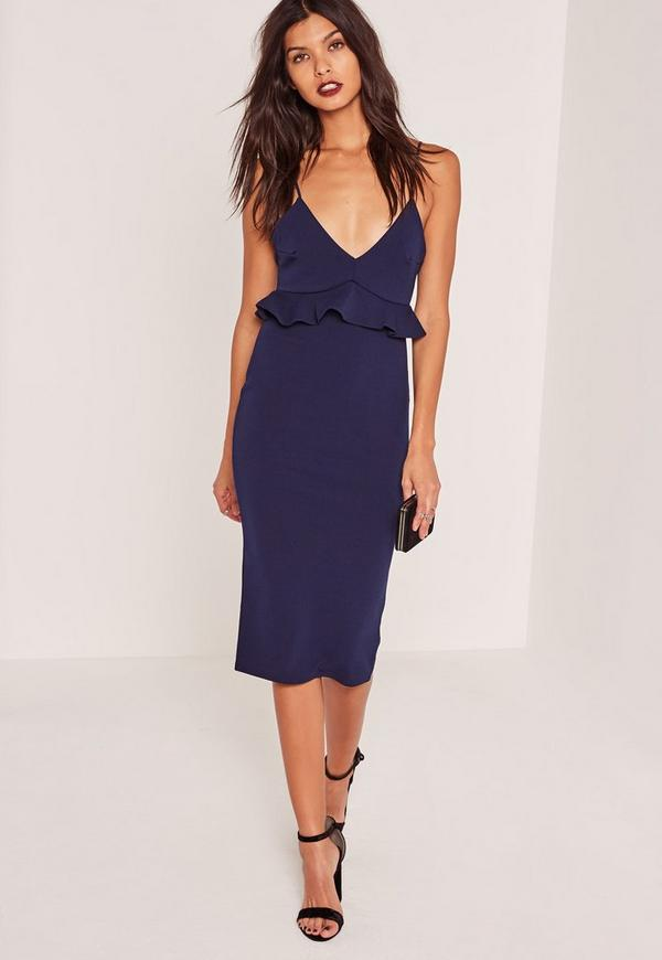 Strappy Frill Bodycon Dress Navy