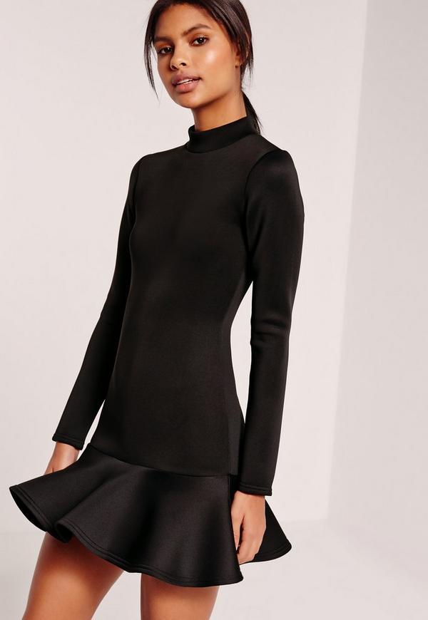 Long Sleeve Fishtail Hem Mini Dress Black