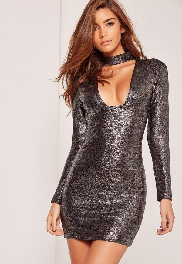 choker plunge long sleeve metallic bodycon dress silver