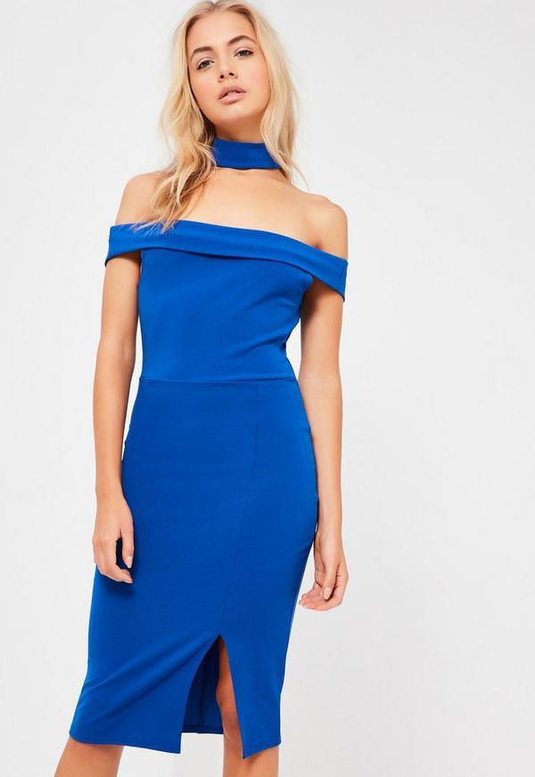 Blue 2 In 1 Choker Bardot Midi Dress