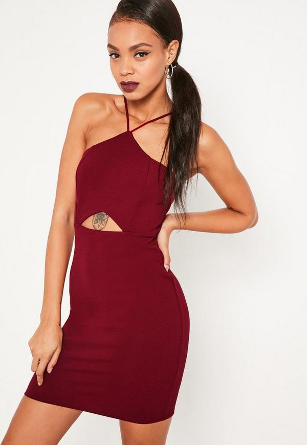 Red Strappy Cut Out Waist Bodycon Dress