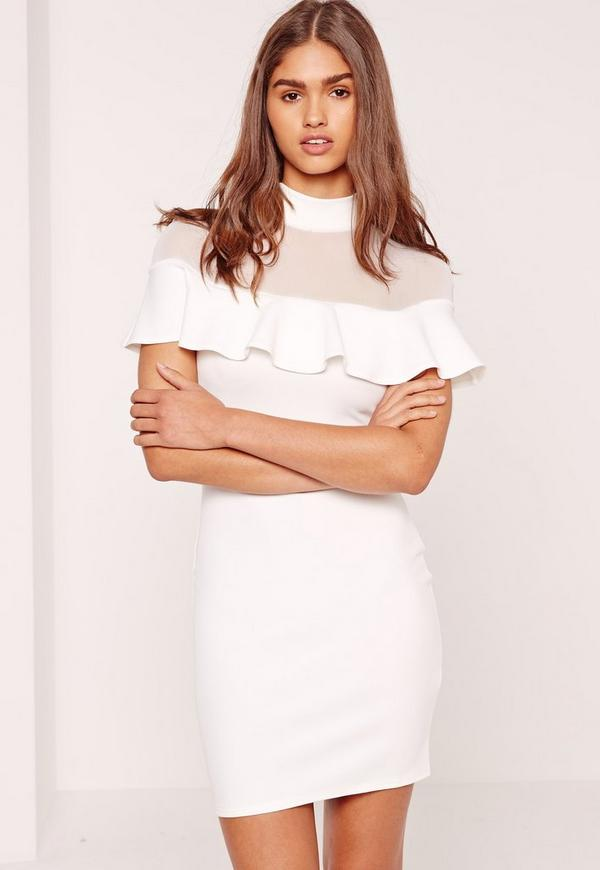 Mesh Frill Bodycon Dress White