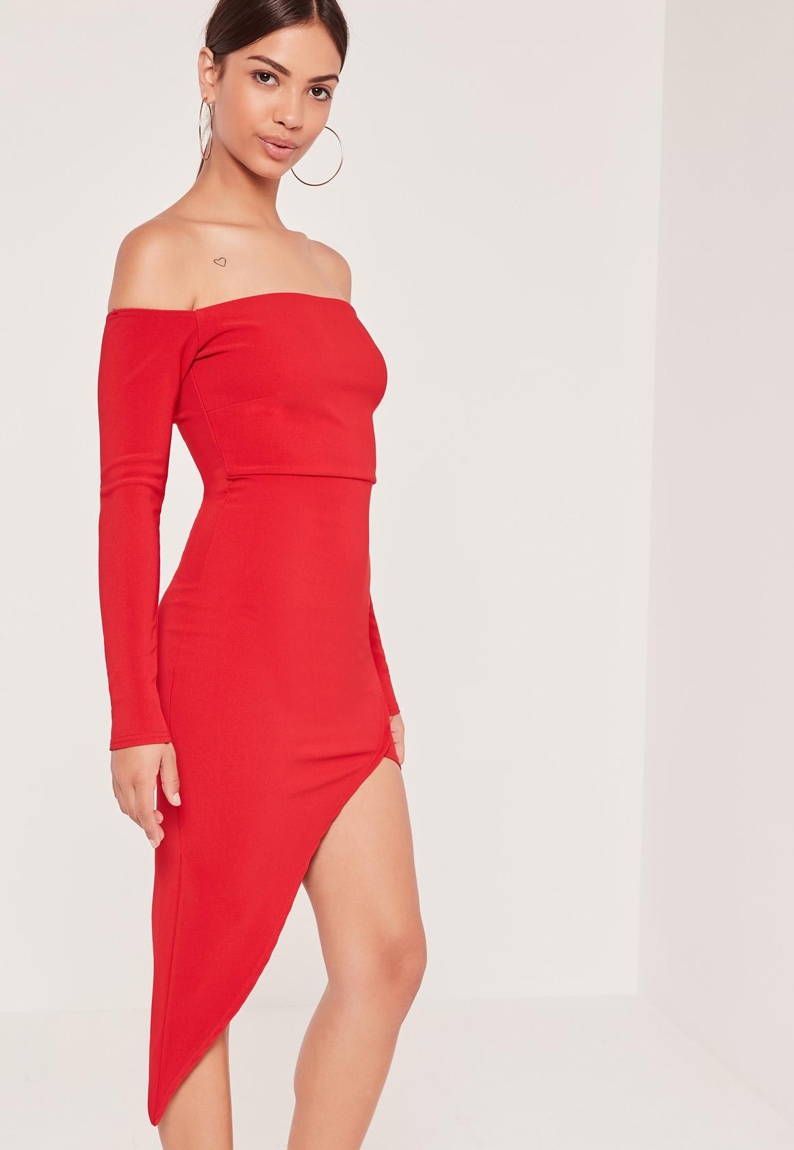Ribbed Bardot Asymmetric Wrap Dress Red