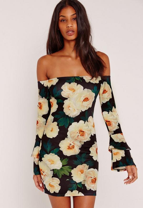 Floral Print Bardot Frill Sleeve Bodycon Dress Black
